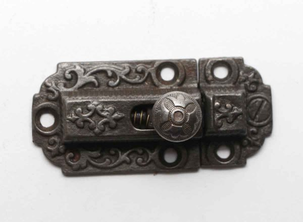 Cabinet & Furniture Latches - Cast Iron Ornate Antique Cabinet Latch