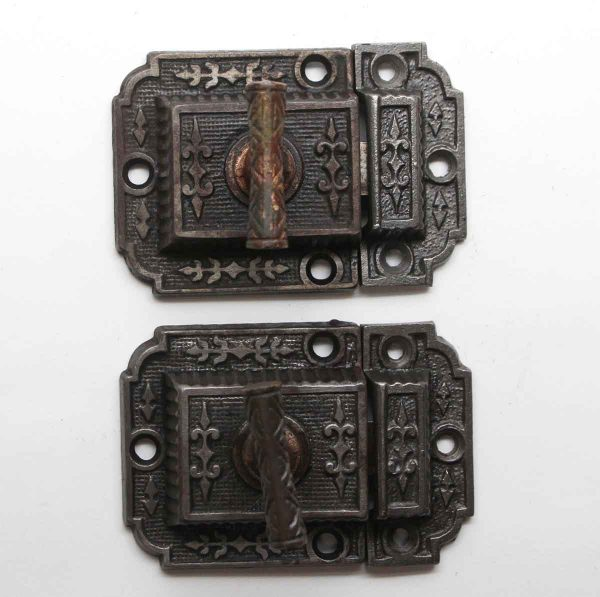 Cabinet & Furniture Latches - Pair of Antique Ornate T Style Cabinet Latches