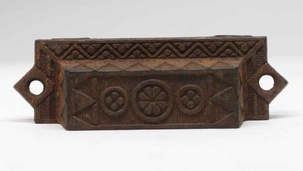 Cabinet & Furniture Pulls - 4.5 in. Aesthetic Floral Cast Iron Bin Pull
