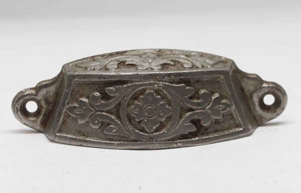 Cabinet & Furniture Pulls - Antique 4.5 in. Cast Iron Floral Bin Pull