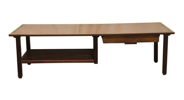 Commercial Furniture - Walnut Magazine Coffee Table with Drawer & Bottom Shelf