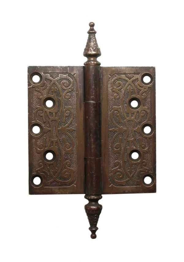 Door Hinges - 5 x 5 Victorian Brass Steeple Tip Butt Door Hinge