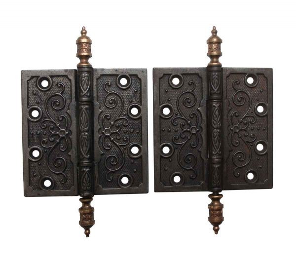 Door Hinges - Pair of Victorian 4.5 x 4.5 Cast Iron Butt Door Hinges