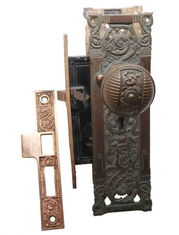 Door Knob Sets - Antique Columbian Brass Door Knob Set