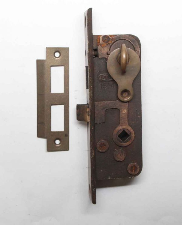 Door Locks - Getty Brass Door Lock Set with Thumb Turn & Strike Plate