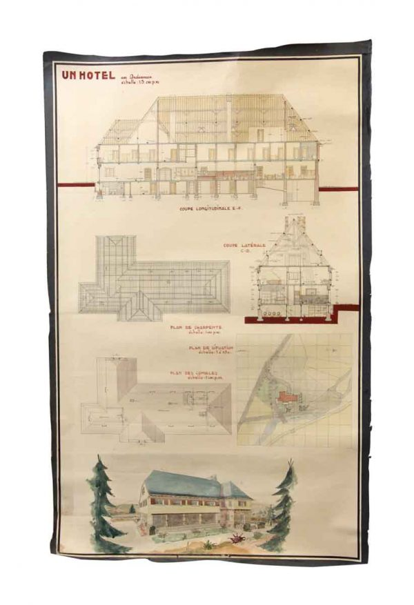 Posters - Architect's French Hotel Blueprint Poster