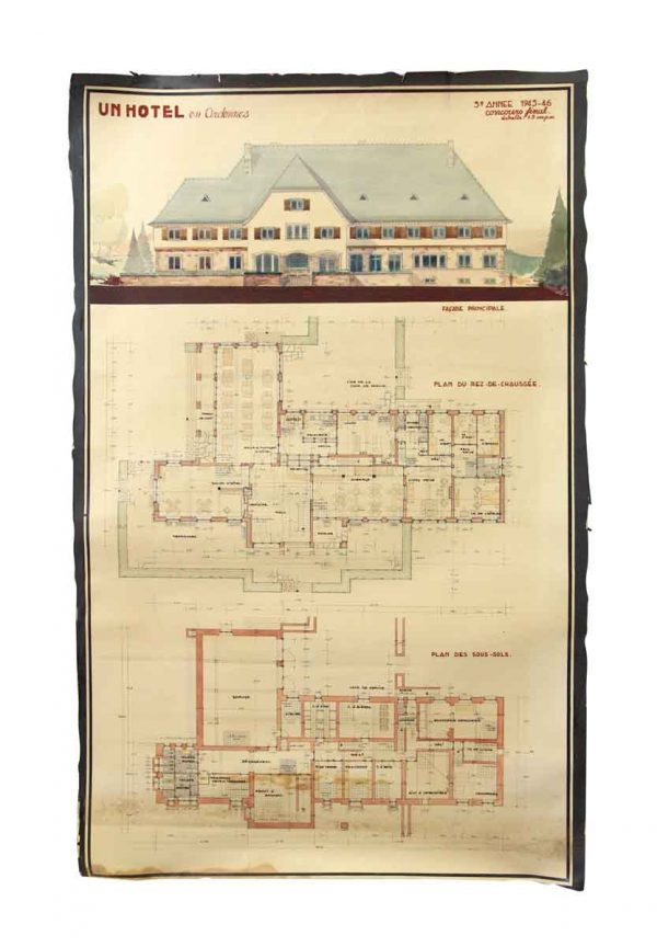 Posters - Vintage French Architect's Blueprint Poster