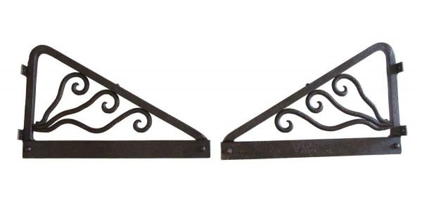 Shelf & Sign Brackets - Pair of Wrought Iron Large Antique Brackets