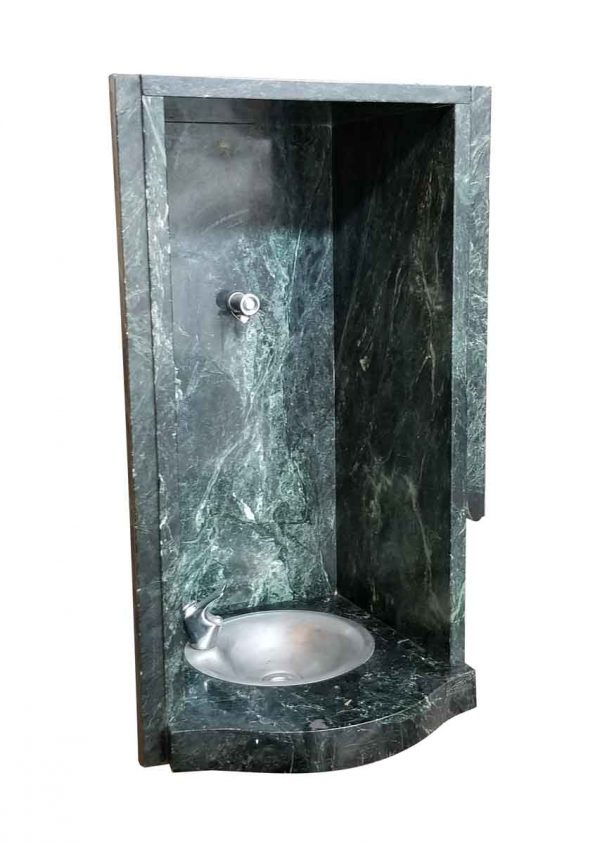 Statues & Fountains - Green White Veined Marble Drinking Fountain