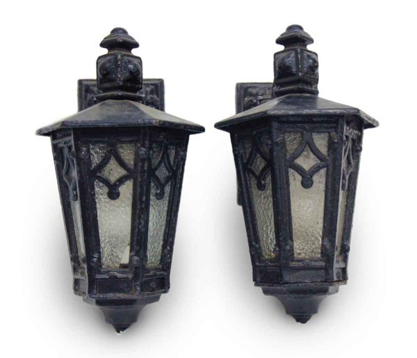 Wall & Ceiling Lanterns - Pair of Arts & Crafts Cast Iron Exterior Lantern Sconces