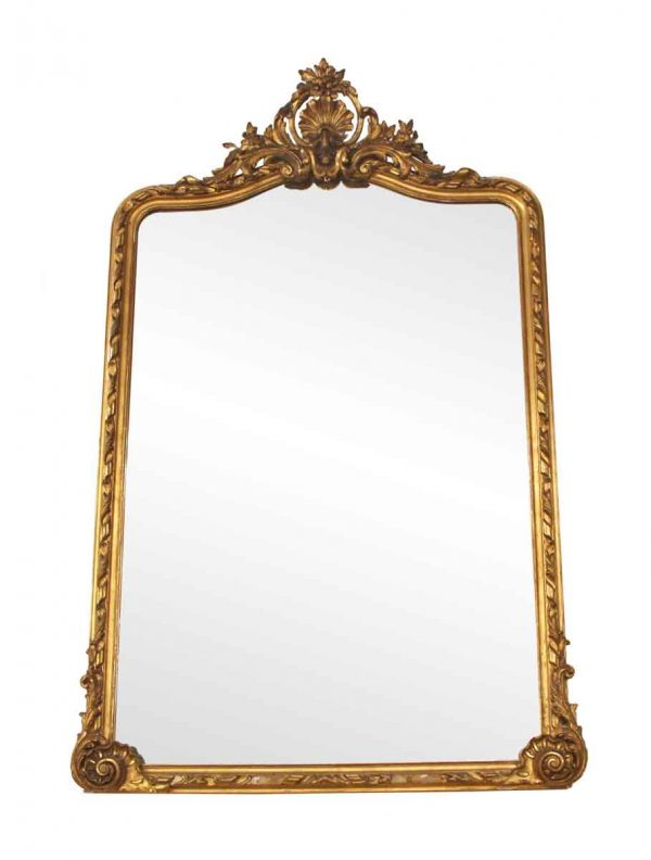 Antique Mirrors - Ornate Gold Gilt Mirror with Cartouche from France