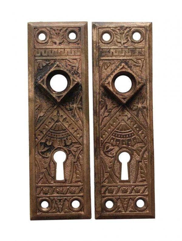Back Plates - Aesthetic Pair of Brass 5.75 in. Passage Door Back Plates