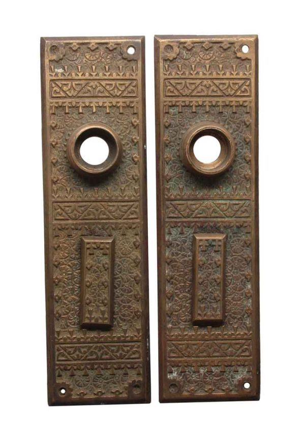 Back Plates - Antique Aesthetic 6.75 in. Bronze Entry Door Back Plates