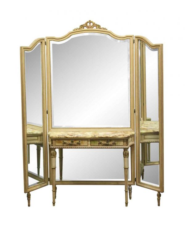 Bedroom - Antique Folding Mirror Vanity Table with Onyx Top