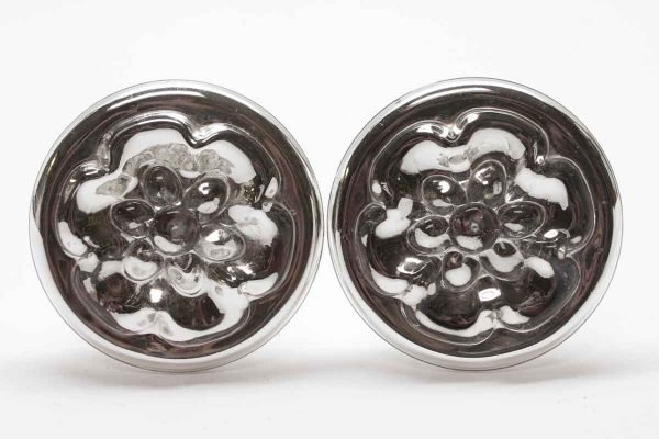 Curtain Hardware - Pair of Mercury Glass Tiebacks with a Nickel Base