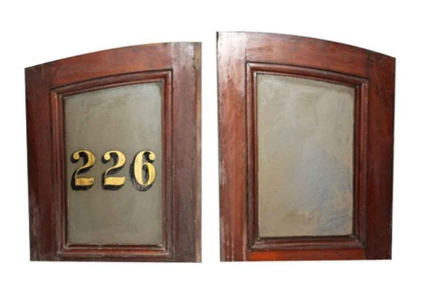 Door Transoms - Pair of Arched Brownstone Door Transoms
