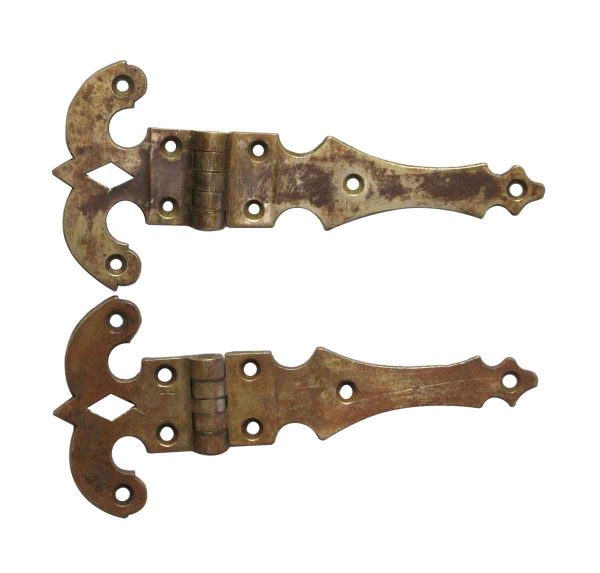 Ice Box Hardware - Pair of 11 in. Brass Ice Box Hinges