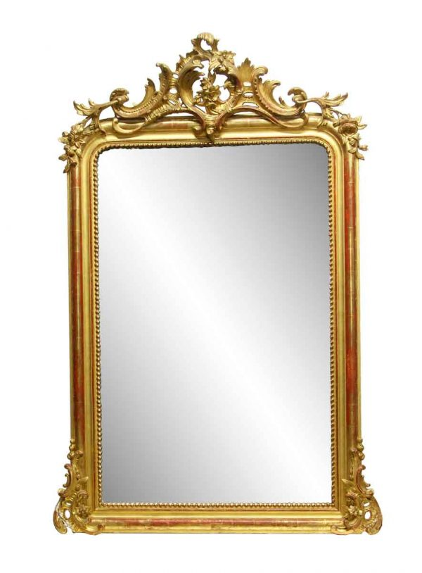 Overmantels & Mirrors - Antique Gilded Imported French Mantel Mirror