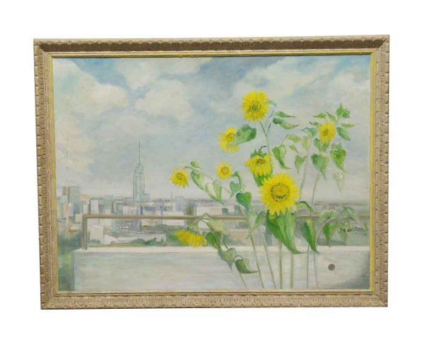 Paintings - Vintage Sunflower Scenic Painting