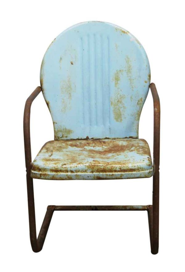 Patio Furniture - Vintage Blue Metal Garden Chair