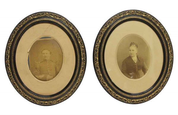 Photographs - Antique Pair of Imported Oval Framed Vintage Portraits