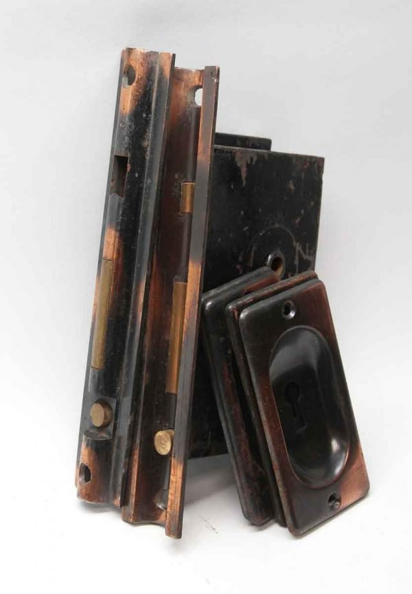 Pocket Door Hardware - Antique Japanned Finish Double Pocket Door Set