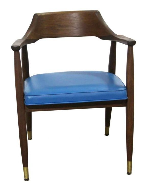 Seating - Mid Century Blue Vinyl & Walnut Arm Chair
