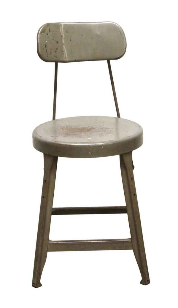 Seating - Reclaimed Gray Metal Counter Stool