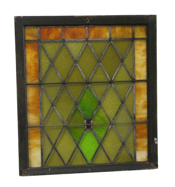Stained Glass - Antique Diamond Pattern Stained Glass Window