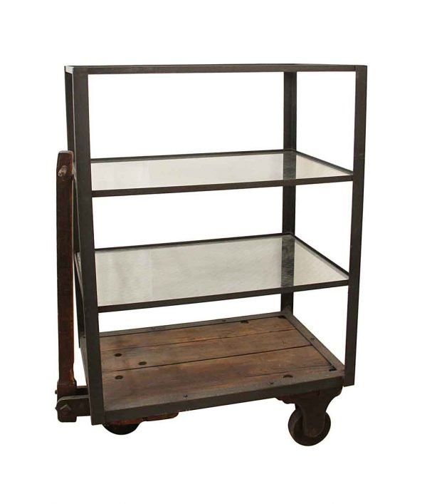 Altered Antiques - Industrial Glass 3 Tier Cart with Pull Handle