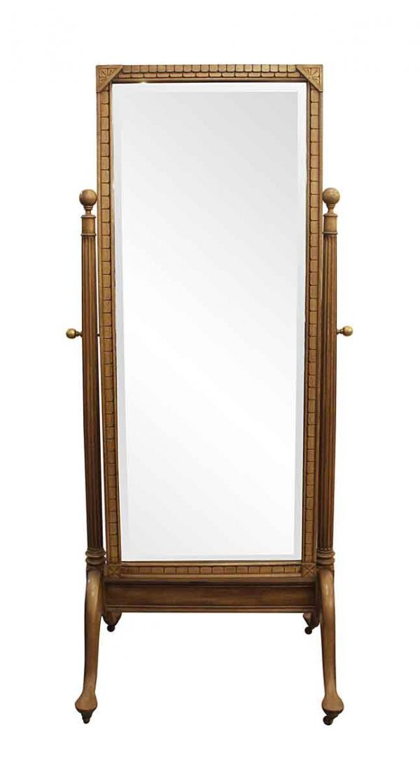 Antique Mirrors - Antique Carved Fruit Wood Cheval Mirror