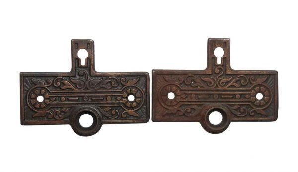 Back Plates - Antique Pair of 3 in. H Victorian Cast Iron Door Back Plates