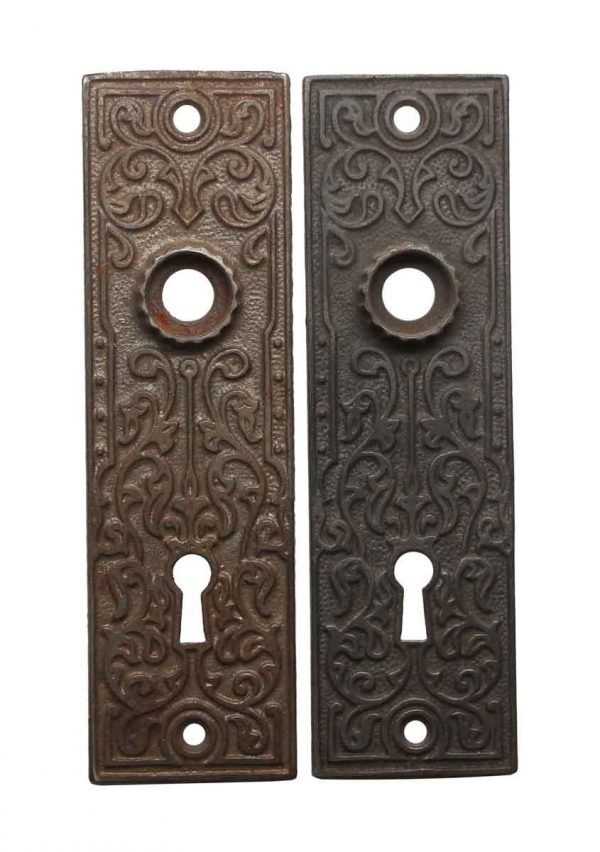 Back Plates - Pair of Cast Iron 5.625 in. Victorian Keyhole Door Back Plates