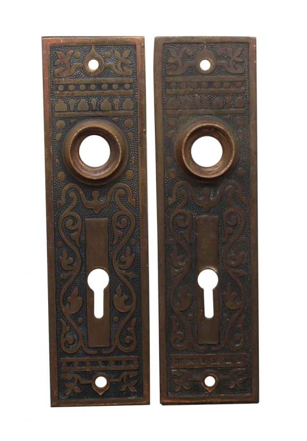 Back Plates - Victorian Bronze 5.5 in. Pair of Door Back Plates