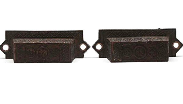 Cabinet & Furniture Pulls - Antique Pair of Bronze Aesthetic Drawer Bin Pulls