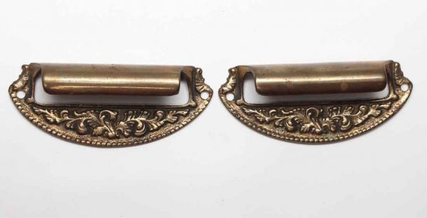 Cabinet & Furniture Pulls - Pair of Antique Victorian Beaded Brass Drawer Bin Pulls