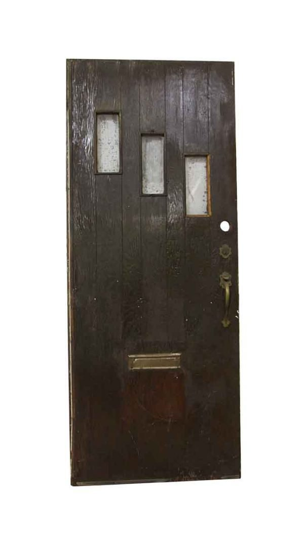 Entry Doors - Antique 3 Lite Pine Entry Door 80 x 32