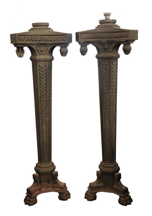 Exterior Lighting - Pair of Cast Iron Exterior Claw Foot Lamp Posts