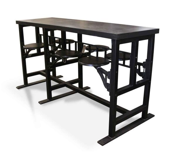 Farm Tables - Custom Bar Height Steel Top 6 Seat Swing Table