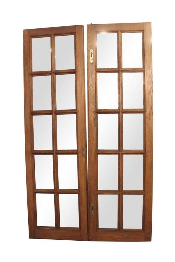 French Doors - Antique Chestnut 10 Lite French Double Doors 93 x 54