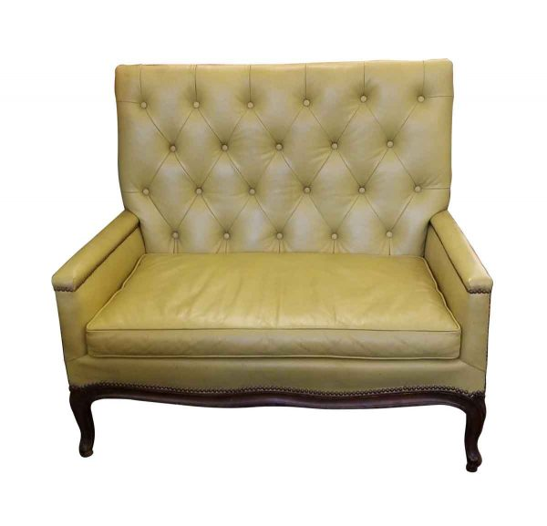 Living Room - Vintage Faux Leather Yellow Love Seat