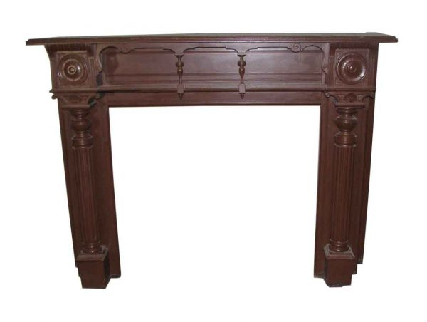 Mantels - Queen Ann Oak Mantel with Carved Details