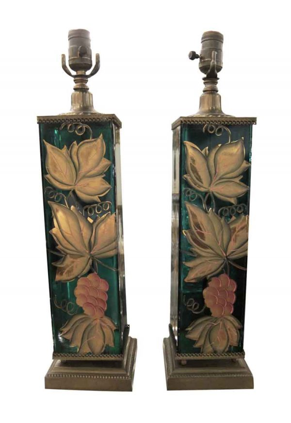 Table Lamps - French Emerald Glass Hand Painted Lamps