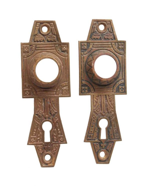 Back Plates - Pair of Bronze Aesthetic 5.25 H Door Back Plates