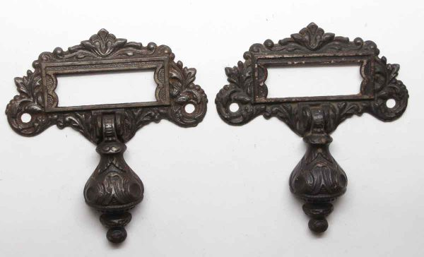 Cabinet & Furniture Pulls - Antique Victorian Iron Pair of Slotted Drop Drawer Pulls