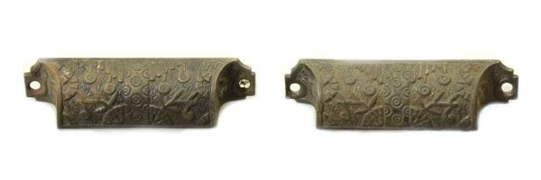 Cabinet & Furniture Pulls - Pair of Early Cast Iron Victorian Bin Pulls