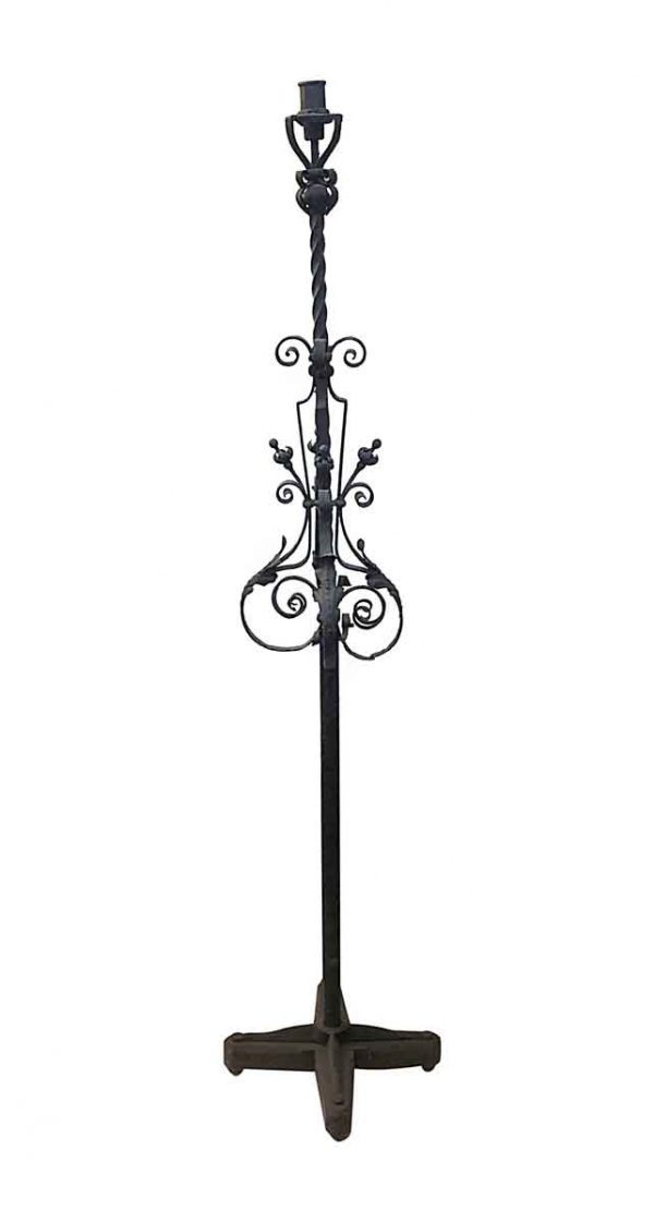 Candle Holders - Antique Black Wrought Iron Candle Stand