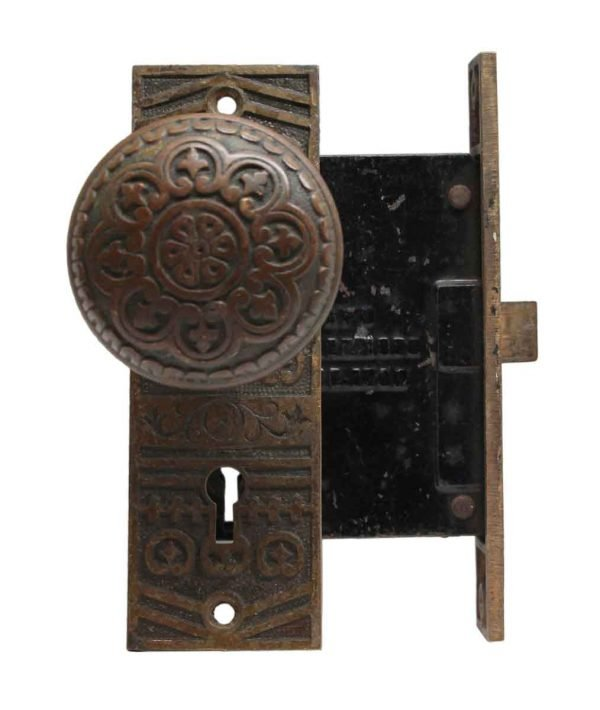 Door Knob Sets - Cast Bronze Niles Chicago Door Knob & Lock Set