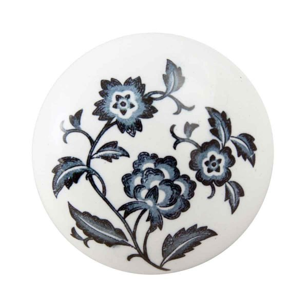Door Knobs - Vintage White Ceramic Door Knob with Blue Floral Detail