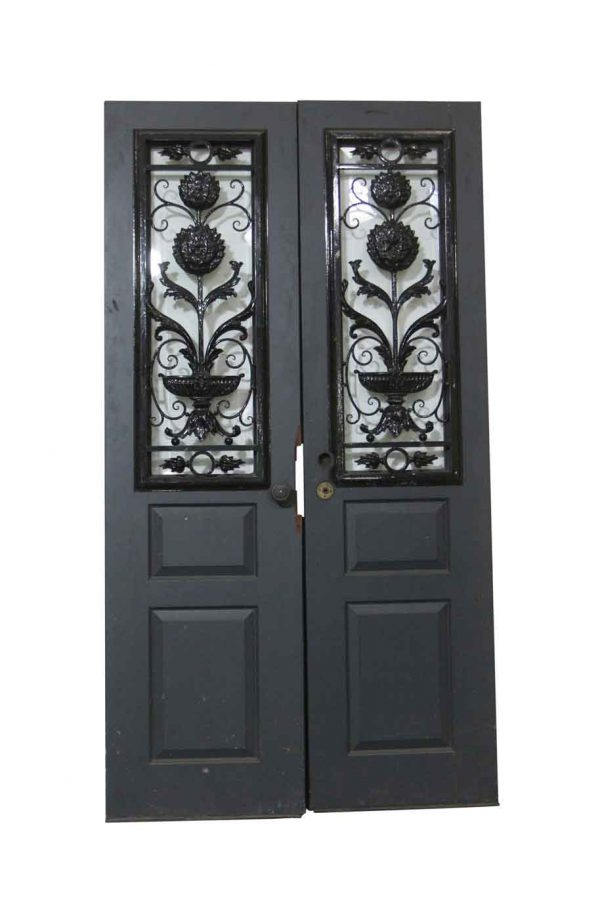 Entry Doors - Antique Double Doors with Cast Iron Covers 83.25 x 44.75